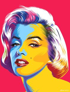 I really enjoy this illustration. It's like if Andy Warhol was alive in modern days. The hair is highlighted beautifully and the colors are harmonious. I like the contrast of warm and cool colors on her face.