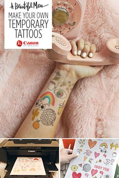 Turn your printer into a custom temporary tattoo parlor with @abeautifulmess. #CraftywithCanon