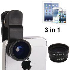 3 in 1 Clip Lens 180 Degree + 0.67x Wide Angle + Macro Lens Untuk Smatphone dan Tablet (BLACK)