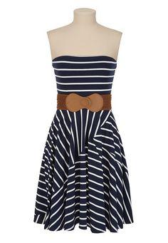 belted striped dress.