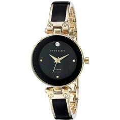Anne Klein AK-1980BKGB Watches ($75) ❤ liked on Polyvore featuring jewelry, watches, black face watches, bracelet jewelry, womens jewellery and stainless steel wrist watch