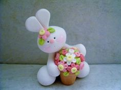 Bunny  Pot of Flowers  Polymer Clay  Easter by countrycupboardclay