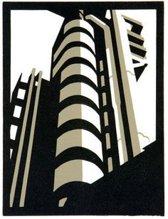 Limited edition linocut Lloyds II by contemporary British printmaker Paul Catherall. Linocut Prints, Art Prints, Block Prints, Linoprint, Photocollage, A Level Art, Architectural Features, Urban Landscape, Looks Cool
