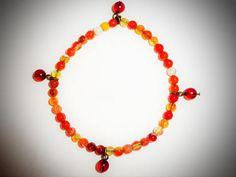 Orange Carnelian Gemstone Bead Bracelet & Matching Glass Bead