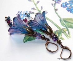 Lucite Flower Earrings,'Forget-me-Not', Victorian Earrings, Boho Earrings, Hand Painted, Dangle Earrings, Swarovski Crystals. Handmade