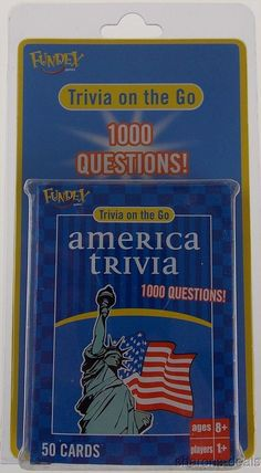 Fundex America Trivia on Go Game 1000 Questions 50 Cards Travel Auto Plane NIB #Fundex
