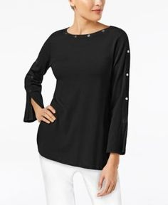 Alfani Petite Studded Long-Sleeve Top, Created for Macy's - Black P/XS