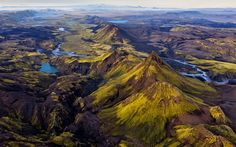 Rivers, mountains, green hills, lakes, valley, Iceland