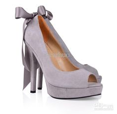 Wholesale Wedding Shoes Prom Shoes Platform Peep Toe Bow Black Pink Grey Suede Women's High Heel Sandal, Free shipping, $95.92-110.92/Pair | DHgate