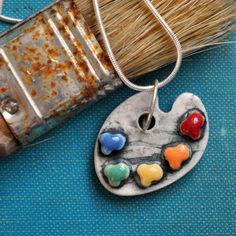Paleta del artista collar de porcelana con por chARiTyelise