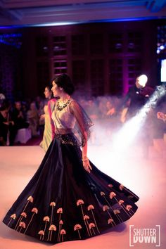 Cape Lehenga in navy blue , blue sheer lehenga , twirling sister of the bride , cape lehenga , cocktail lehenga