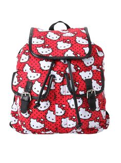 Canvas slouch backpack with Hello Kitty print design. Snap button and drawstring closure.