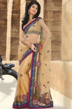 Fawn Net Saree With Blouse