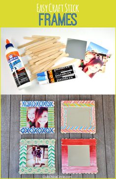 Diy art projects inspirational craft stick decorated frames diy craft by club chica circle of diy Diy Craft Projects, Kids Crafts, Diy Arts And Crafts, Craft Ideas, Paint Stick Crafts, Photo Frame Ornaments, Diy Foto, Personalized Photo Frames, Stick Photo