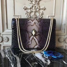 Bulgari Serpenti 27cm Large with Two Gussets Bag Python Leather Fall Winter 2017 Collection Black White Multi