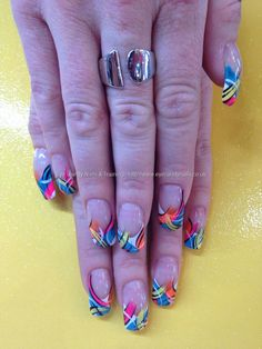Multi coloured freehand flick nail art over acrylic nails