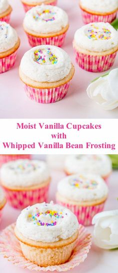 Say good-bye to dry and boring vanilla cupcakes, and hello to these supremely mo. Say good-bye to dry and boring vanilla cupcakes, and hello to these supremely moist and flavorful v Moist Vanilla Cupcakes, Vanilla Bean Frosting, Buttercream Cupcakes, Vanilla Cupcake Recipes, Vanilla Desserts, Butter Cupcakes, Vanilla Cake, Köstliche Desserts, Delicious Desserts