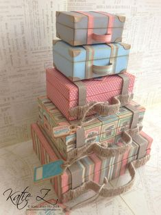 'Come Away with Me' Stacked Suitcases (view + Snapguide and Video Tutorial by Katie Zoey Ho - Wendy Schultz ~ Graphic 45 Projects Diy Love, Matchbox Crafts, Diy And Crafts, Paper Crafts, Paper Art, Vintage Suitcases, Vintage Luggage, Travel Party, Graphic 45
