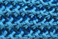 Close up of Tunisian Bamboo Stitch, used to create this great http://hat...by The Laughing Willow. Pattern and links to videos!