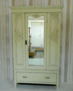 Vintage Shabby Chic Mirrored Wardrobe Armoire Drawers Antique Cream | eBay