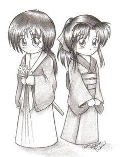 Kenshin and Kaoru from Rurouni Kenshin in chibi style. Chibi Kenshin and Kaoru Kenshin Anime, Rurouni Kenshin, Manga Love, Anime Love, Kenshin Le Vagabond, Samurai, Manga Characters, Fictional Characters, Naruto Vs