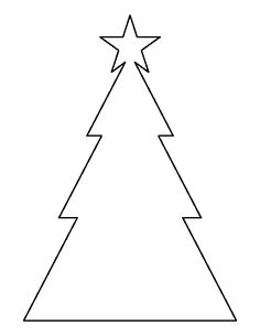 Triangle Christmas tree pattern. Use the printable outline for crafts, creating stencils, scrapbooking, and more. Free PDF template to download and print at http://patternuniverse.com/download/triangle-christmas-tree-pattern/