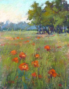MAINE summer landscape 8x10 Original Pastel Painting Karen Margulis