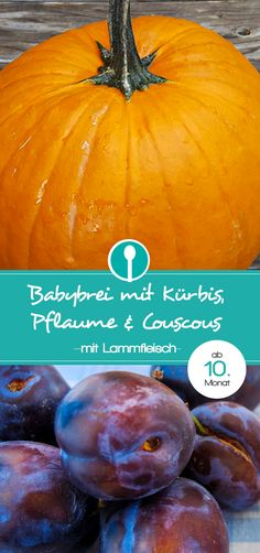 Babybrei mit Kürbis, Pflaume, Couscous und Lamm. Mittagsbrei Rezept für Babys ab dem 10.Monat. Stückiger Babybrei für ältere Babys.