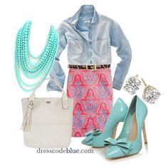Paisley Skirt, Chambray Shirt & Mint