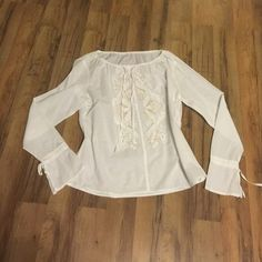White blouse With gold bead embellished white blouse Worn only couple of times Tops Blouses