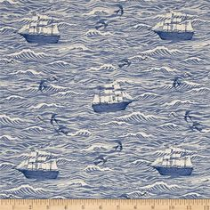 Cotton + Steel S.S. Bluebird Out To Sea Blue from @fabricdotcom  Designed by Sarah Watts for Cotton + Steel, this fabric, printed on unbleached cotton, features waves crashing into each other and ships trying to navigate their way back home. Perfect for quilting, apparel and home decor accents. Colors include white and shades of blue.