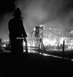 Fire destroys the Glenane Sports Pavilion at Fortfield Road, Terenure, Dublin. Photo Archive, Pavilion, Dublin, 1960s, Ireland, Irish, Past, Fire, Sports