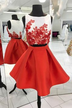 Unique red satin two pieces short homecoming dress, prom dress,YY395 · modern sky · Online Store Powered by Storenvy Black Formal Dress Short, Short Red Prom Dresses, Junior Homecoming Dresses, Two Piece Homecoming Dress, A Line Prom Dresses, Cheap Prom Dresses, Bridesmaid Dresses, Short Prom, Dress Prom