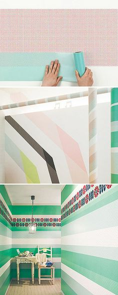 ".:* L - cool way to decorate apartment walls. [from designvagabond: ""For those of you in love with Japanese MT Tape, you'll swoon over this new translucent rice paper wallcovering by Sincol x MT. The only thing better than cute crafty tape is a giant version of it for your walls!""]"