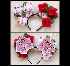 """The """"Painting the Roses Red"""" minnie ears // Disney ears // custom // Disneyland… Diy Disney Ears, Red Minnie Mouse, Disney Mickey Ears, Disney Diy, Disney Crafts, Disney Trips, Disney Bows, Disney College, Disney Outfits"""