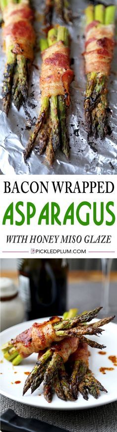 A healthy and delicious bacon recipe! Bacon wrapped asparagus with honey miso…