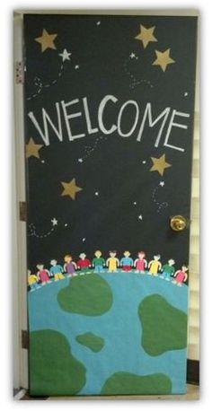 Class decoration, classroom displays, art classroom door, welcome door Space Theme Classroom, Classroom Bulletin Boards, Classroom Design, Classroom Displays, Preschool Classroom, Art Classroom, World Bulletin Board, Classroom Ideas, Welcome Door Classroom