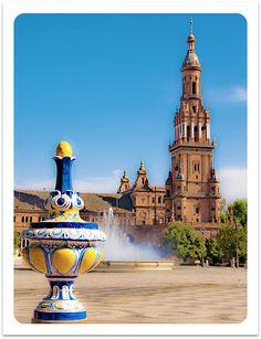 The Plaza de España, Seville    Located in Maria Luisa Park, Sevilla, Espana
