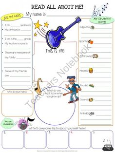All About Me Music product from Jasons-Classroom on TeachersNotebook.com