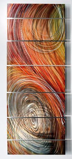 Metal Wall Art 7 Panels Decor Gold Beach Modern Signed Original Art Jon Allen
