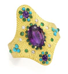 verdura jewelry cuffs and bracelets | Gold, Amethyst, Turquoise and Chrysoprase Cuff Bracelet, by ...