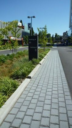 rain garden paving detail The redesign of N Gantenbein Avenue incorporates a large median with a central bioretention swale and sf of previous pavers. Urban Landscape, Landscape Design, Architecture Foundation, Ecology Design, Garden Paving, Green Street, Water Management, Rain Garden, Outdoor Landscaping