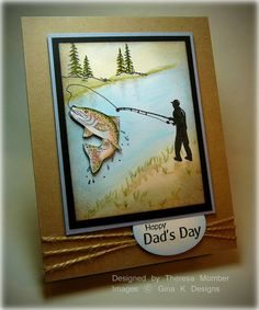 Great photo tutorial for using Copic markers to color this handmade Father's Day card.  The fish literally jumps off the page (attached with pop dots) and will be a great catch for your dad.
