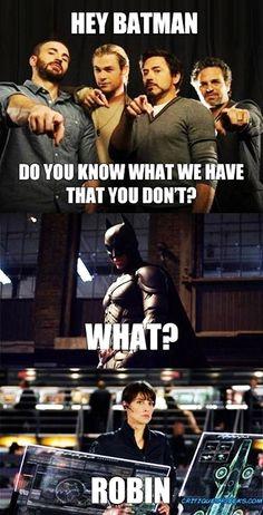 Oooh, burn.   #avengers   #batman   #howimetyourmother