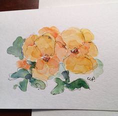 Yellow Pansies Watercolor Card / Hand Painted by gardenblooms