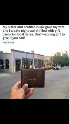 date night wallet idea wedding present engagement gift – funny wedding Cute Wedding Ideas, Wedding Goals, Wedding Tips, Perfect Wedding, Our Wedding, Wedding Planning, Dream Wedding, Wedding Quotes, Gift Wedding