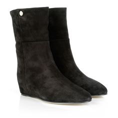 Oxana Suede Hidden Wedge Bootie Black