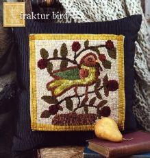 Hooked rug pillow topper - Fraktur Bird