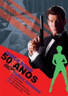 James Bond 50 Anos by Pedro Henrique Ribeiro, via Behance Roman, Spy Games, James Bond Movies, Pierce Brosnan, Great Movies, Sherlock Holmes, Celebrities, Movie Posters, Fictional Characters