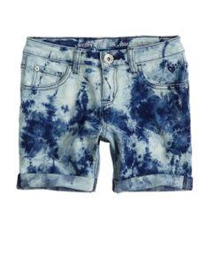 Dye Effect Mid-thigh Denim Shorts sz7